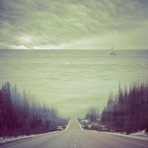 """JUNIQE Alu-Dibond bilder Abstrakte Landschaften """"Dubcism"""" von JUNIQE - Künstler: Eugene Soloviev"""