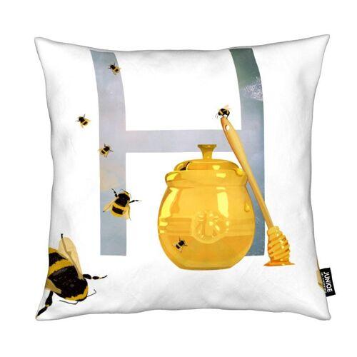 """JUNIQE Deko Kissen Bienen """"H Honey"""" von JUNIQE"""