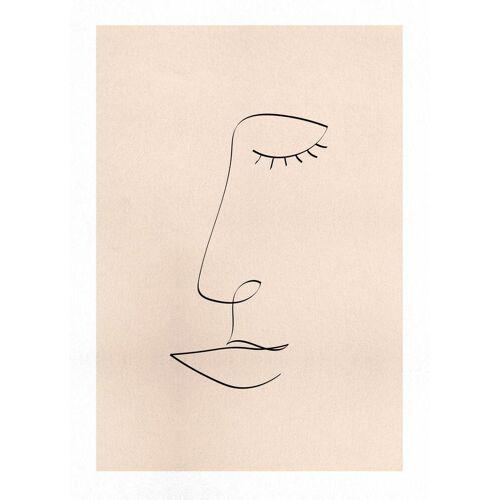 "JUNIQE Leinwandbild Porträts ""Line Portrait"" von JUNIQE - Künstler: Pure"