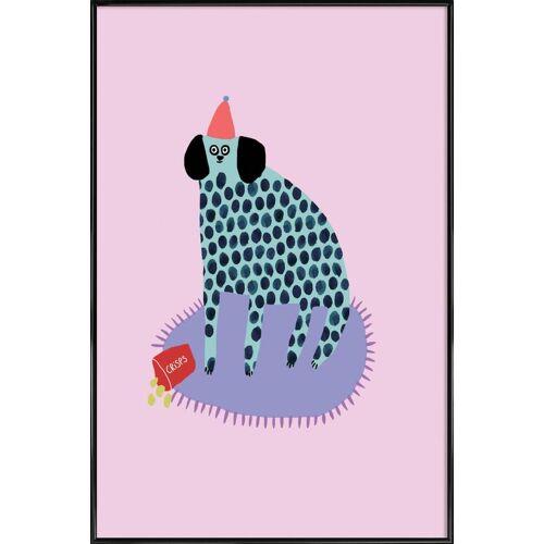 """JUNIQE Kunstdruck Hunde """"Partydog"""" von JUNIQE - Künstler: Lora O'Callaghan"""