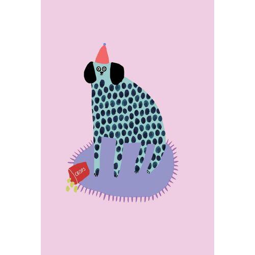 """JUNIQE Glasbild Hunde """"Partydog"""" von JUNIQE - Künstler: Lora O'Callaghan"""