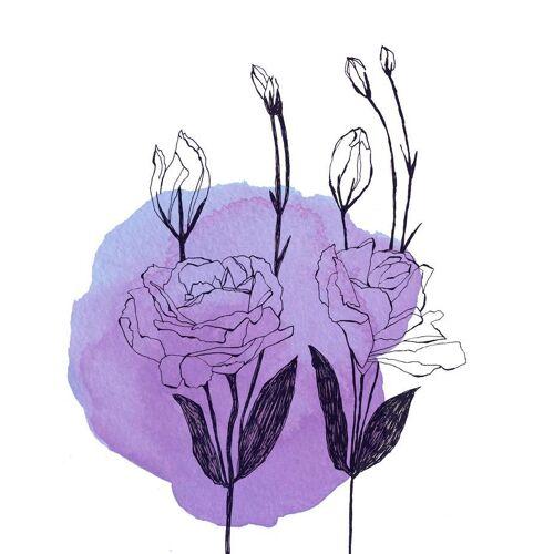 """JUNIQE Glasbild Blumen """"Lisianthus"""" von JUNIQE - Künstler: Morgan Kendall"""