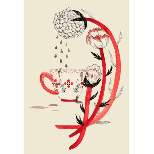 "JUNIQE Alu-Dibond bilder Kaffee ""Coffee"" von JUNIQE - Künstler: Daniela Spoto"