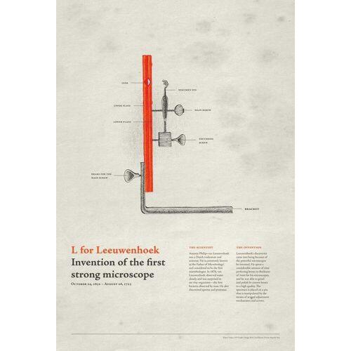 """JUNIQE Glasbild Typografie & Symbole """"L for Leeuwenhoek"""" von JUNIQE - Künstler: Khyati Trehan"""