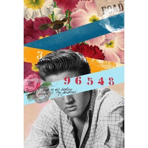 "JUNIQE Alu-Dibond bilder Elvis ""Public Figures: Elvis"" von JUNIQE - Künstler: Elo Marc"