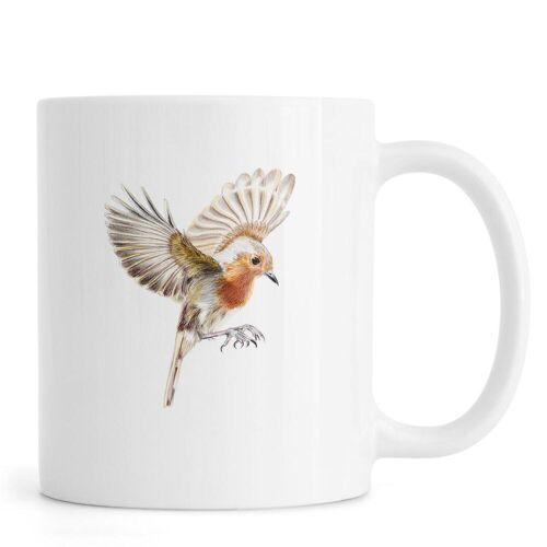 """JUNIQE Tassen Vögel """"Rotkehlchen im Flug"""" von JUNIQE"""