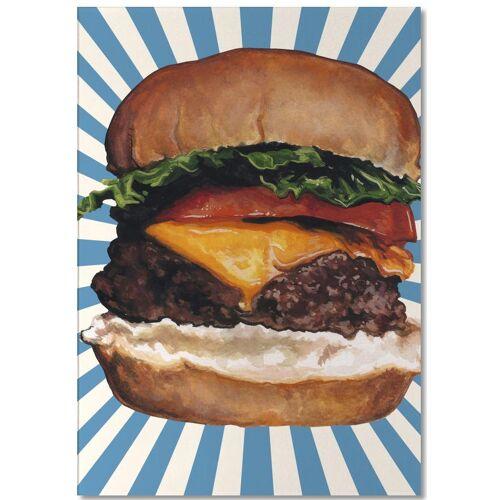 """JUNIQE Notizblock Retro """"Cheeseburger"""" von JUNIQE"""