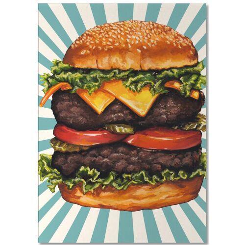 """JUNIQE Notizblock Retro """"Double Cheeseburger"""" von JUNIQE"""