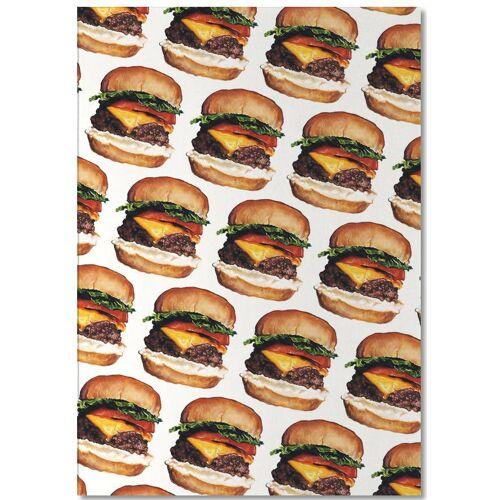 """JUNIQE Notizblock Retro """"Cheeseburger Pattern"""" von JUNIQE"""