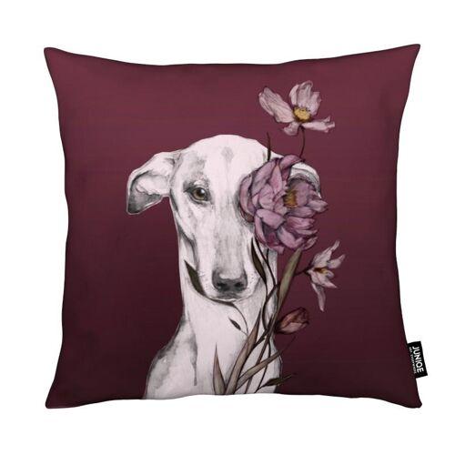 """JUNIQE Deko Kissen Hunde """"Greyhound Floro Red"""" von JUNIQE"""