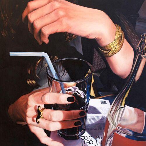"""JUNIQE Alu-Dibond bilder Cocktails """"Main Cocacola"""" von JUNIQE - Künstler: Jérôme Romain"""