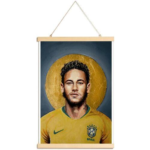 """JUNIQE Poster mit Posterleisten Neymar """"Football Icon -Neymar"""" von JUNIQE - Künstler: David Diehl"""