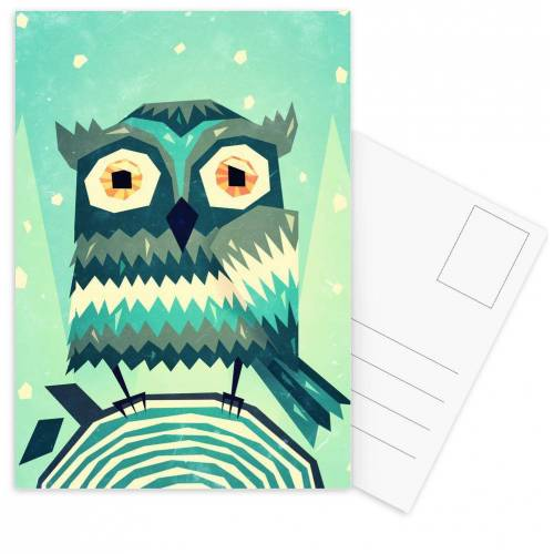 """JUNIQE Postkarten Eulen """"Boohoo"""" von JUNIQE - Karten Kunst"""