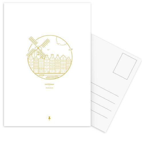 """JUNIQE Postkarten Amsterdam """"Amsterdam"""" von JUNIQE - Karten Kunst"""