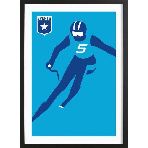 "JUNIQE Bild Ski & Snowboard ""Slalom"" von JUNIQE - Künstler: Bo Lundberg"
