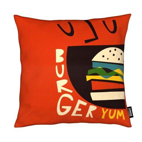 "JUNIQE Deko Kissen Burger ""Yum Burger"" von JUNIQE"