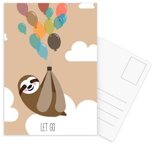 """JUNIQE Postkarten Faultiere """"Let Go"""" von JUNIQE - Karten Kunst"""