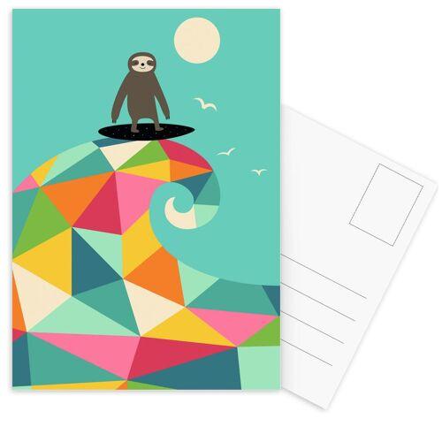 """JUNIQE Postkarten Faultiere """"Surf Up"""" von JUNIQE - Karten Kunst"""