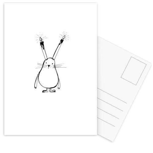 """JUNIQE Postkarten Geburtstage """"B-Day Bunny"""" von JUNIQE - Karten Kunst"""