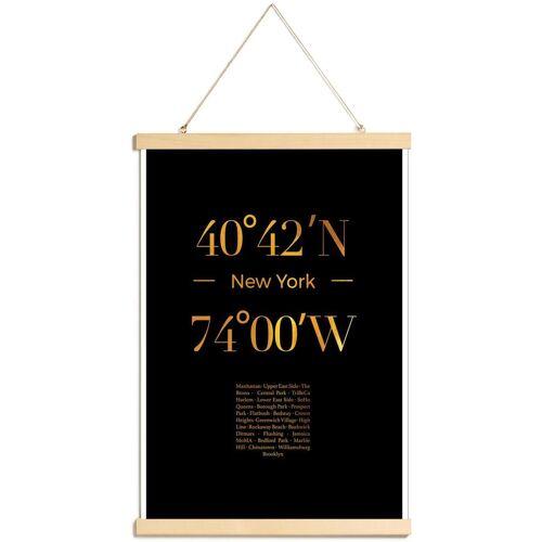 """JUNIQE Poster mit Posterleisten New York """"Gold New York"""" von JUNIQE - Künstler: JUNIQE"""