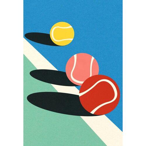 """JUNIQE Glasbild Tennis """"3 Tennis Balls"""" von JUNIQE - Künstler: Rosi Feist"""