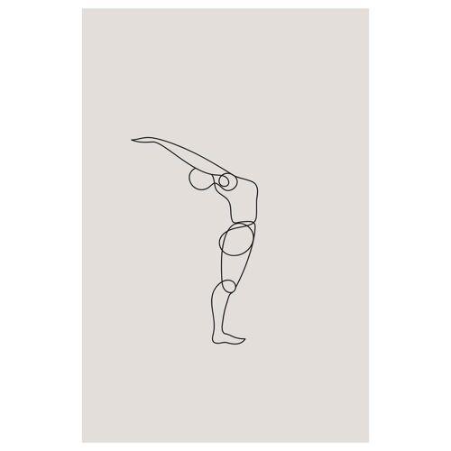 """JUNIQE Glasbild Yoga """"Standing Backbend"""" von JUNIQE - Künstler: Klaus with K"""