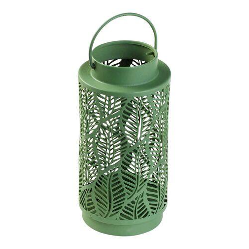 NKD Laterne im Blätter-Design, ca. Ø 9x18cm green --