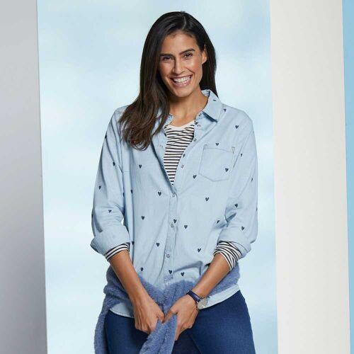 NKD Damen-Jeans-Bluse mit Herzmuster light-blue M