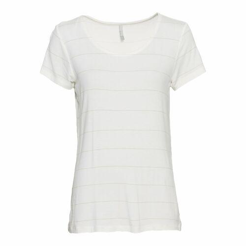 NKD Damen-T-Shirt mit Glitzerstreifen white M