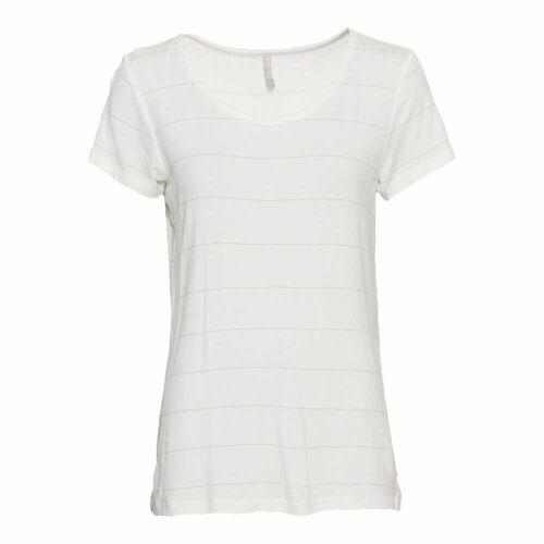 NKD Damen-T-Shirt mit Glitzerstreifen white S