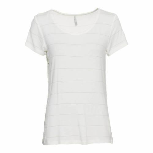 NKD Damen-T-Shirt mit Glitzerstreifen white XS