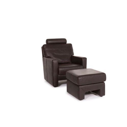 Musterring Leder Sessel inkl. Hocker Braun Dunkelbraun #12606