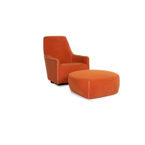 Minotti Portofino Stoff Sessel inkl. Hocker Orange #13397