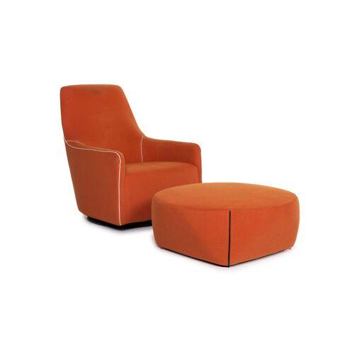 Minotti Portofino Leder Sessel inkl. Hocker Orange #13398