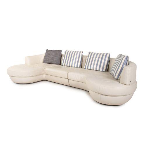 Natuzzi Leder Ecksofa Weiß Sofa Couch #14501