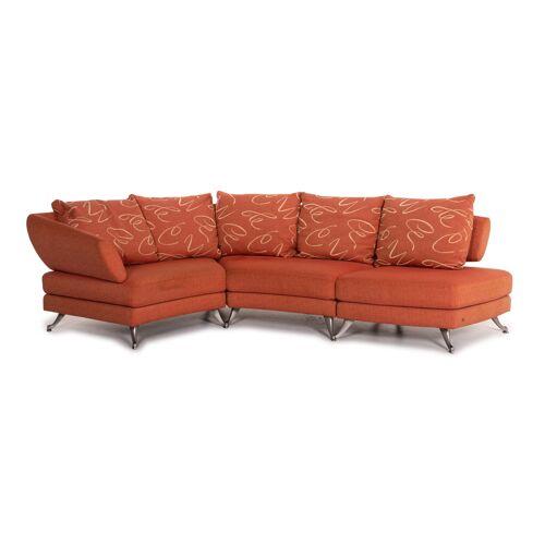 Rolf Benz Stoff Ecksofa Orange Gemustert Sofa Couch #14502