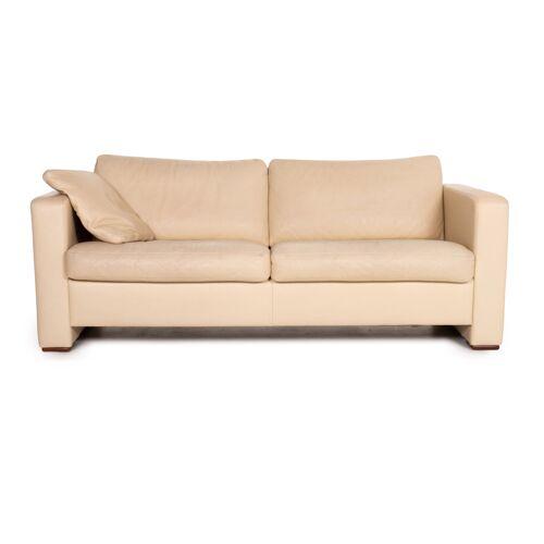 Machalke Leder Sofa Beige Dreisitzer Couch #14786