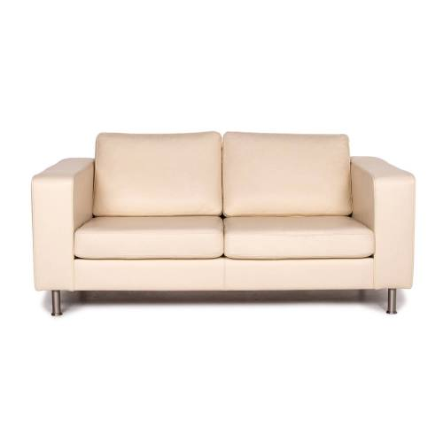 BoConcept Leder Sofa Creme Zweisitzer Couch #14805