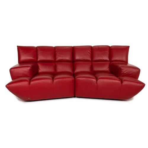 Bretz Cloud 7 Leder Sofa Rot Zweisitzer Couch #15321