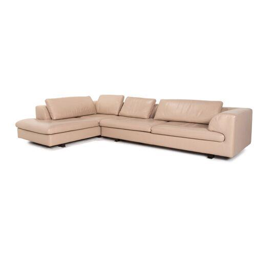 Roche Bobois Leder Ecksofa Beige Sofa Couch #15329
