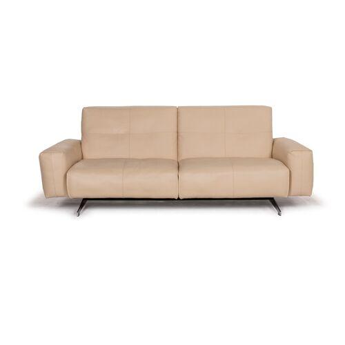 Rolf Benz 50 Leder Sofa Creme Zweisitzer #15359