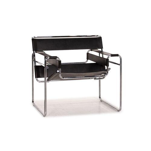 Knoll International Wassily Chair Leder Sessel Schwarz Stuhl Marcel Breuer #15445