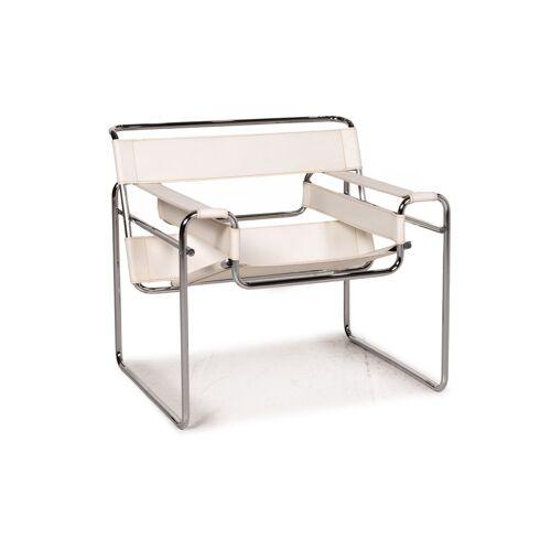 Knoll International Wassily Chair Leder Sessel Weiß Stuhl Marcel Breuer