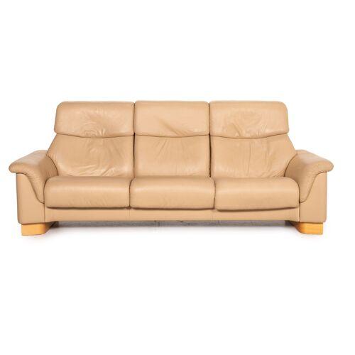 Stressless Paradise Leder Sofa Beige Dreisitzer