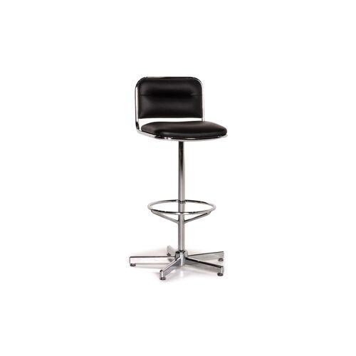 Thonet Leder Barhocker Schwarz Stuhl Metall #15010