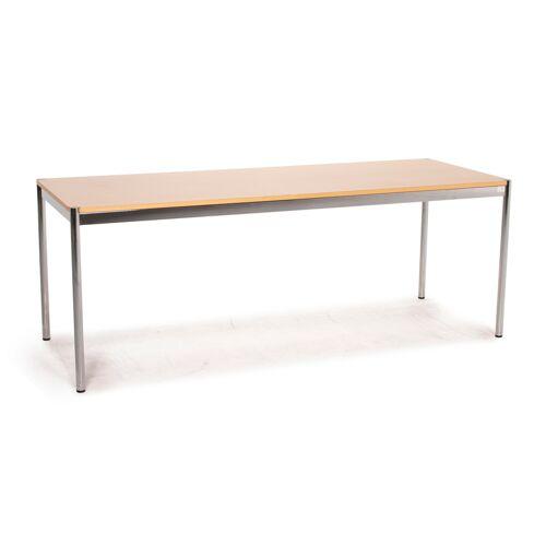 USM Haller Metall Schreibtisch Holz Braun Tisch