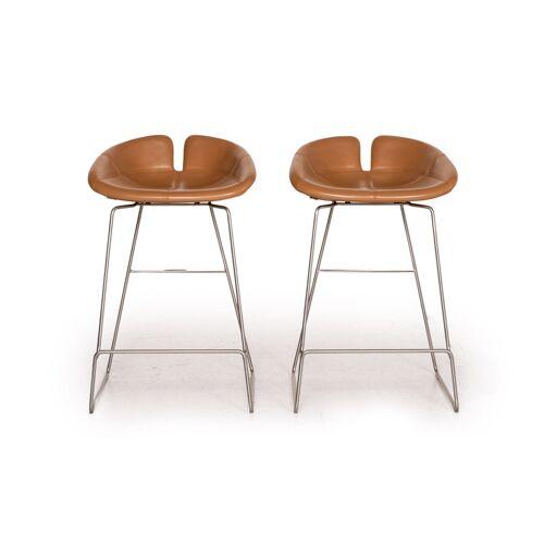 Moroso Fjord Leder Barhocker Garnitur Cognac Braun 2x Stuhl