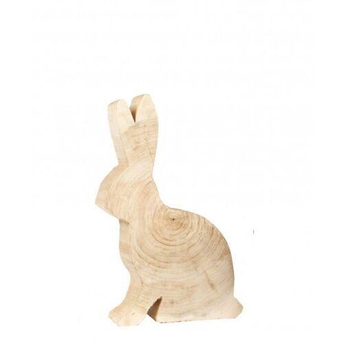 WMG Sitzender Dekohase aus Pappelholz - natur 50 cm