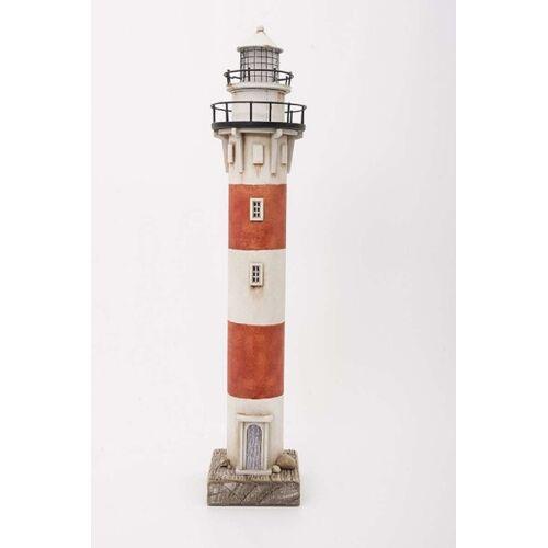 Batela Deko Leuchtturm rot/weiß mit LED-Licht