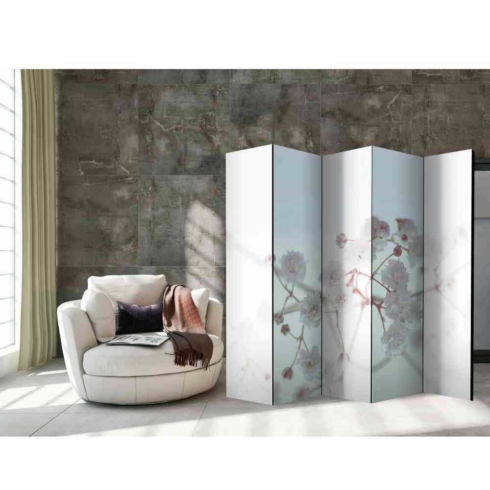 Pharao24.de Raumteiler Paravent mit Blumen Motiv Weiß